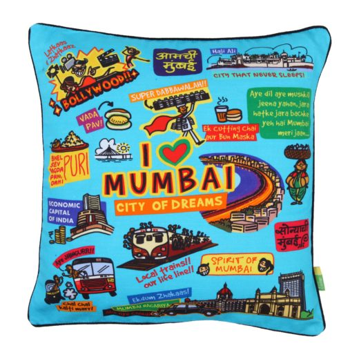 Coloured Mumbai Cushion cover