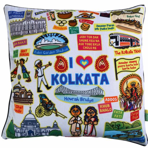 White Kolkata Cushion Cover