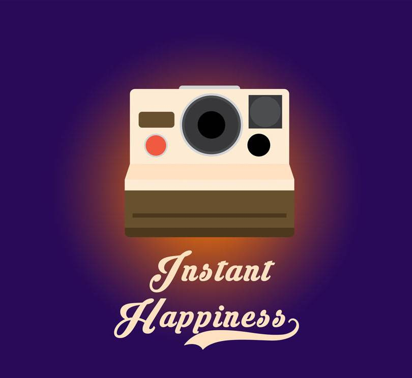 instant happiness polaroid camera orange  mousepad design.