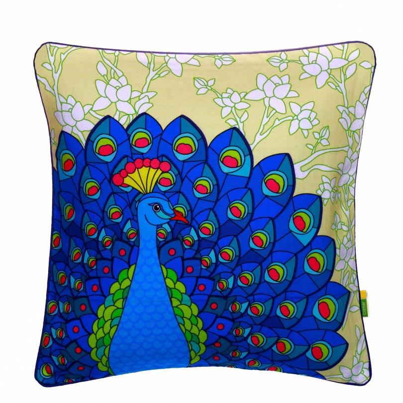 Yellow Dancing Peacock Cushion Cover
