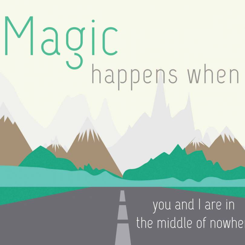 Magic Happens When You Go Road Trip Quotes - Walliners (PM01)