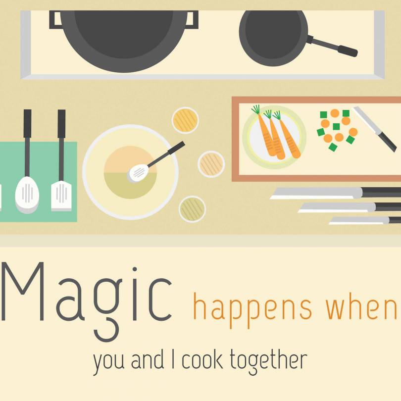 Magic Happens When You Cook Together Quotes - Walliners (PM13)