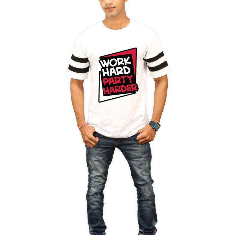 Work Hard Party Harder White Round Neck Half Sleeves T-Shirt - High Five Clothing