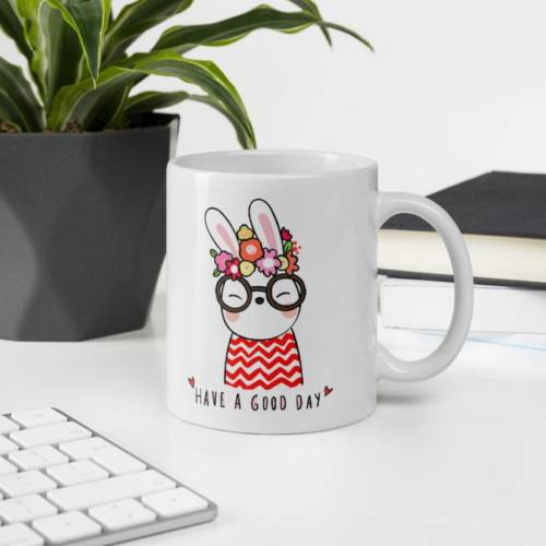 Have A Good Day Cute Rabbit - Abstract Ceramic Tea & Coffee Mug