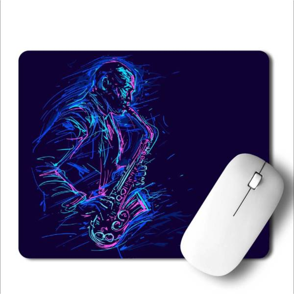 Jazz Saxophone Player   Mousepad for Laptop / Computer