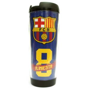 F.C. Barcelona Double Wall Plastic Bottle/Mug A. Iniesta No. 8
