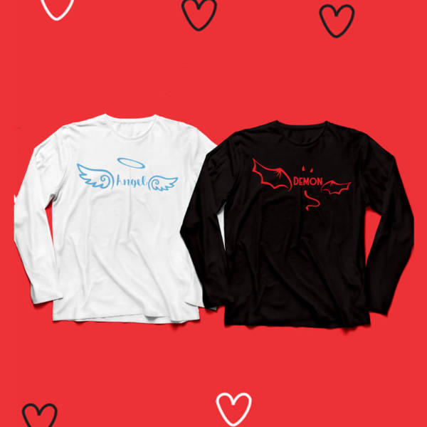 Angel & Demon Full Sleeves Couple Tshirt