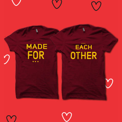 Made for Each other Half Sleeves Couple Tshirt